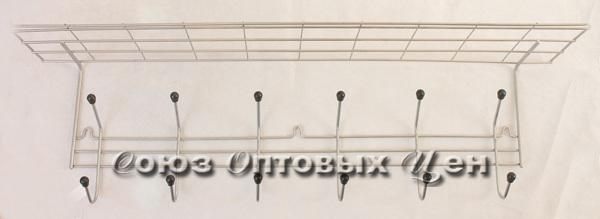 вешалка для одежды 6 крючков с полкой хром CF 07С (шт.)