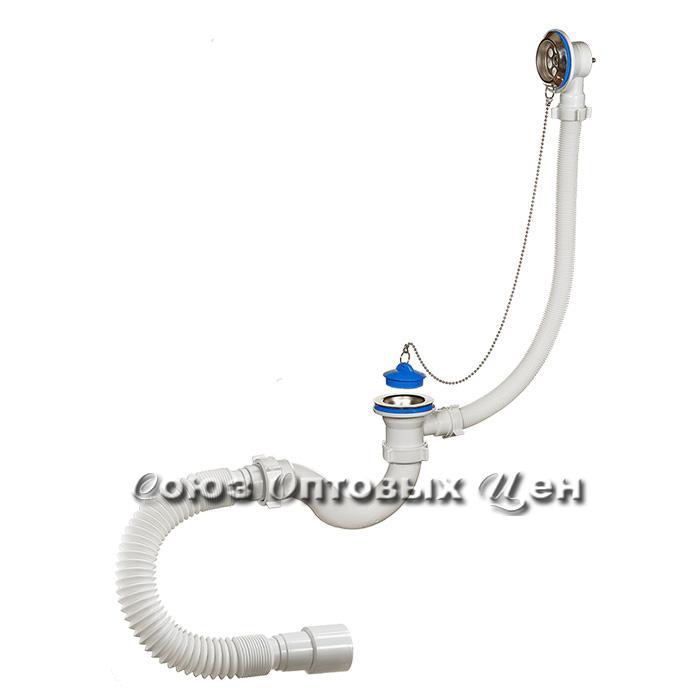 сифон Орио д/ванны с перелив, гибк труб. А-40089 (аналог Е155)
